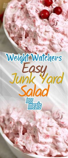JUNK YARD SALAD 1 Ingredients 1 can cherry pie filling 1 lg. can crushed pineapple, drained 1 can Eagle Brand milk 2 c. miniature marshmallows 1 c. Skinny Recipes, Ww Recipes, Low Calorie Recipes, Cooking Recipes, Weight Watchers Diet, Weight Watchers Desserts, Quick Healthy Meals, Healthy Snacks, Weigth Watchers