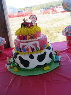 """Cake I made for my son's 2nd birthday -- """"Mickey and Donald Have a Farm"""" party"""