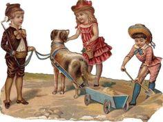 Victorian Die Cut Scrap Kids Dog Wagon c1880