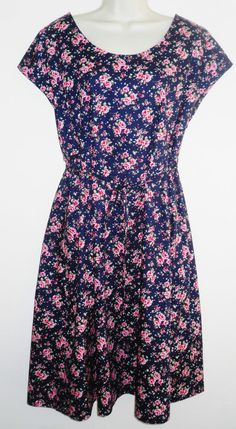 NEW Ladies Pure Cotton Dress Pinafore Pink Navy Floral Roses Large Country Chic
