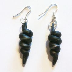 Swirly whirly black and silver earrings.  www.facebook.com/thequirkycrafthouse