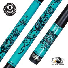 Players Pool Cue | Live Hard Turquoise Rose Cue