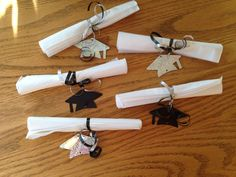 """""""Diploma"""" napkin rolls (I made these for our churches grad breakfast). College Graduation Parties, Grad Parties, Graduation Ideas, Wood Card Box, Masquerade Ball Party, Birthday Decorations, Open House, Party Time, Napkins"""