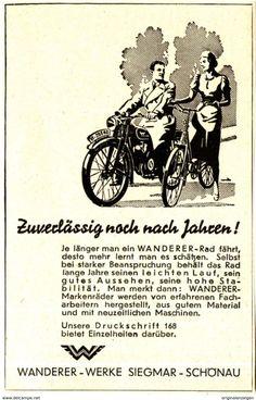 Original-Werbung/ Anzeige 1935 - WANDERER FAHRRAD UND  MOTORFAHRRAD / SIEGMAR-SCHÖNAU B. CHEMNITZ - Ca. 65 X 110 Mm - Werbung