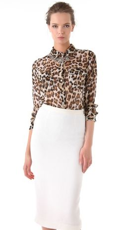 Equipment Anita Slim Signature Blouse - love the look the shirt with a white pencil skirt