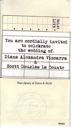 Library Themed Wedding Invitation