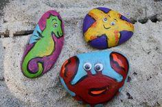 Krabbe, Seepferd und Seestern auf Stein malen