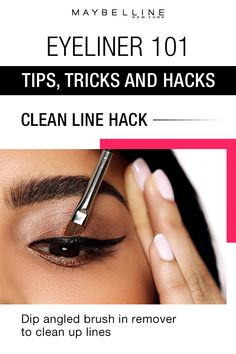 Looking for a solve on how to get a clean liner look? When you've finished drawing on your line, dip an angled brush in makeup remover and use it to clean up any imperfections for an incredible Wing Liner Look. Click through for more eyeliner makeup 101 tips, tricks and hacks for beauty beginners by Maybelline.