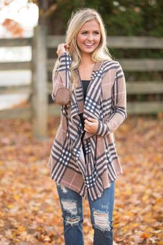 This beautiful plaid cardigan is simply perfect for all of your favorite fall events - it's sure to add a bright pop of print to any outfit!
