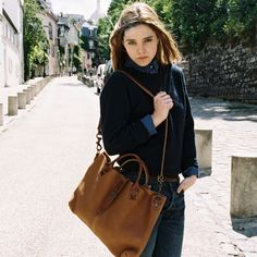 Bleu de Chauffe | Women I Leather tote bag. Cabas cuir Sido I Made in France