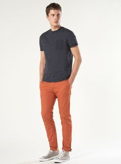 Polka T Shirt + Orange Pant + Gray Converse