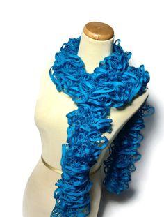 Turquoise Ruffled Scarf by ArlenesBoutique on Etsy, $29.95