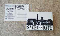 Vintage Skyline Postcard Save the Date (Washington DC) via Etsy.