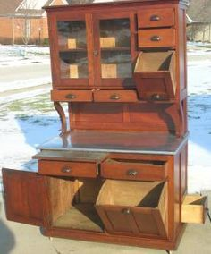 hoosier cabinets | Early Hoosier Style CHERRY!!! Bakers Cabinet Cupboard Completed