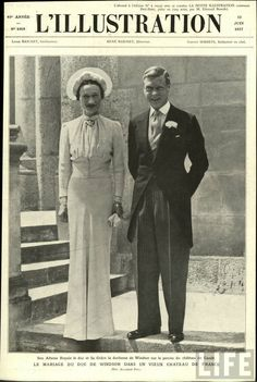 "The less-than-pure Wallis Simpson chose a custom ""Wallis Blue"" Mainbocher gown for her controversial 1937 wedding to Prince Edward, Duke of Windsor. The pair tied the knot in a French ch& Wallis Simpson, Mia Farrow, Judy Garland, Meat Dress, Lehenga Style, Royal Weddings, Vintage Weddings, High Society, Duke And Duchess"
