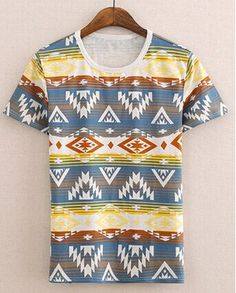Casual Style Round Neck Colorful Geometric Print Short Sleeves Cotton T-shirt For Men Color: COLORFUL Size: M, L, XL Category: Men > Men's T-Shirts & Vest   Material: Cotton  Sleeve Length: Short  Collar: Round Neck  Style: Casual  #gometricpatternsTshirtsformen #geometricTshirts #Tshirtsformen #casualTshirts #bridgat.com