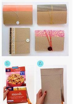 Cadernetas feitas com caixas de cereal recicladas   Cacareco