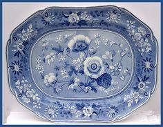 LARGE ANTIQUE SPODE PEARLWARE POTTERY BLUE TRANSFER PRINT BOTANICAL PLATTER 1820