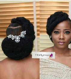 Natural Bridal Hair, Natural Hair Bun Styles, Natural Hair Updo, Wedding Hairstyles For Long Hair, Bridal Hair And Makeup, Curly Hair Styles, African Wedding Hairstyles, Black Brides Hairstyles, Bride Hairstyles