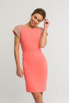 ac4ef936353 vestidos de fiesta cortos con hombreras de lentejuelas color coral para  invitadas comunion boda coctel bautizo de apparentia tienda online