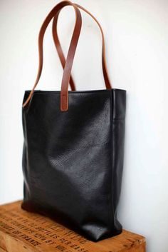 Supple Black Leather Tote Bag with Brown leather straps , Carryall  laptop bag , Large Leather Tote