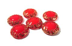 Red Moonglow Glass Shankless Buttons West Germany VINTAGE Red Gold Luster Buttons Six (6) Vintage Buttons Jewelry Sewing Supplies (F65) by punksrus on Etsy