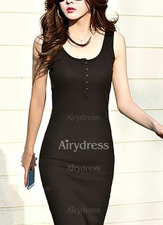 Dress - $20.07 - Polyester Solid Sleeveless Mid-Calf Casual Dresses (1955143047)