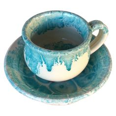 greek mocca cup turquoise drops handmade Terracotta Paint, Mocca, Coffee Recipes, Lead Free, Ceramic Art, Wall Sconces, Tea Cups, Greek, Pottery