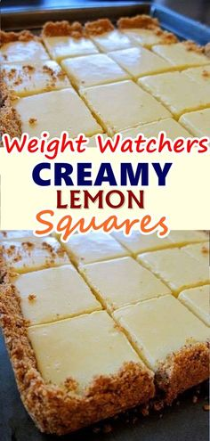 CREAMY LEMON SQUARES The lemon bars of your dreams take just 15 minutes of prep: Stir together a mere three ingredients to create a sunny, puckery filling for a buttery shortbread crust. Weight Watchers Desserts, Weight Watchers Kuchen, Plats Weight Watchers, Ww Desserts, Dessert Recipes, Healthy Lemon Desserts, Lemon Bars Healthy, Breakfast Recipes, Lemon Recipes