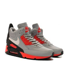 newest e684a a1df2 Homme Nike Air Max 90 Winter Sneakerboot Ice Gris Blanc Rouge Chaussures