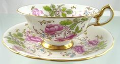 BUTTERFLY-ROSES-TEA-CUP-SAUCER-4209A-SCALLOPED-BY-ROYAL-CHELSEA