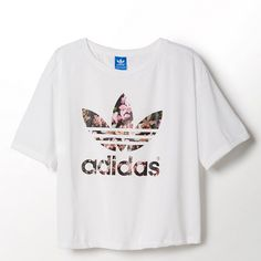 Adidas Orchid Tee ($24) ❤ liked on Polyvore featuring tops, t-shirts, shirts, crop tops, tees, jersey shirts, loose shirts, polyester t shirts, loose crop top and jersey t shirts
