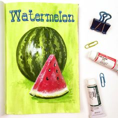 Watermelon Journal Page by Angela Staehling in Strathmore 500 Series Mixed Media Art Journal