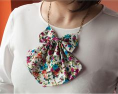 Women Bow tie Statement necklace Bow tie for womens Floral