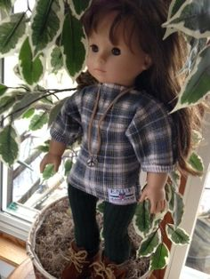 Special order using waffleweave knit shirts cut apart and made into jeggings and dolman sleeve top incorporating the label from original hemline into hemline of doll shirt.