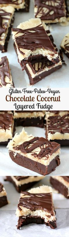 Layered Chocolate Coconut Fudge - Gluten free, paleo, vegan, nut free, no bake! | Posted By: DebbieNet.com