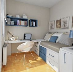 Teenage Bedroom Ideas: Small Bedroom Inspiration with Perfect Layout and Arrangement Casual Bedroom with Study Room Design – Furniture Home Idea Small Bedroom Storage, Small Bedroom Designs, Small Room Design, Bedroom Small, Bed Storage, Blue Bedroom, Master Bedroom, Storage Ideas For Small Bedrooms Teens, Boys Bedroom Ideas Teenagers Small Spaces