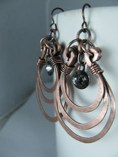 Layered Copper Hoops with Silver Night by GeishaCreations on Etsy, $31.00