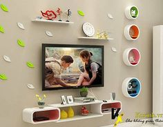 Pin by Amna on Shelves in 2019 Modern Tv Unit Designs, Modern Tv Wall Units, Living Room Tv Unit Designs, Tv Unit Decor, Wall Shelf Decor, Tv Decor, Tv Wall Design, Wall Shelves Design, Tv Unit Furniture Design