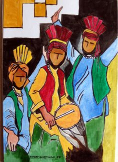 Dance to the rhythm of Bhangra. Celebrate the golden harvest of joy. Wishing you all a happiness & good cheers on this & years ahead! Indian Artwork, Indian Art Paintings, Dancing Drawings, Art Drawings Sketches, Festival Paint, Poster Color Painting, Composition Painting, Graphite Art, India Painting