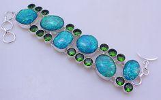 free shipping F-288 Stunning Dichroic Glass-Peridot .925 Silver Handmade Jewelry Bracelet 68 Gr. by SILVERHUT on Etsy