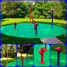 We installed this backyard home splash pad just outside of Chicago. 5 water play features on this spray park with green My Splash Pad Anti-Slip surface. The Water Cannon was the hit of this residential water park! Backyard Water Parks, Backyard For Kids, Backyard Projects, Outdoor Projects, Water Playground, Backyard Playground, Backyard Toys, Backyard Splash Pad, Spray Park