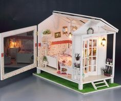 DIY LED Light Wooden Dollhouse Miniatures Beach House Seaview Bay Chalet Kit | eBay