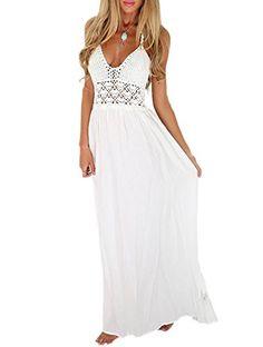 32873369cd LILBETTER Women s Beach Crochet Backless Bohemian Halter Maxi Long Dress  (L