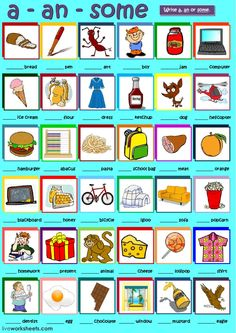 a, an or some Language: English Grade/level: Begginners School subject: English as a Second Language (ESL) Main content: A, An or Some Other contents: determiners English Grammar Worksheets, Phonics Worksheets, English Vocabulary, English Lessons, Learn English, English Homework, English Exercises, Reading Test, Esl Resources