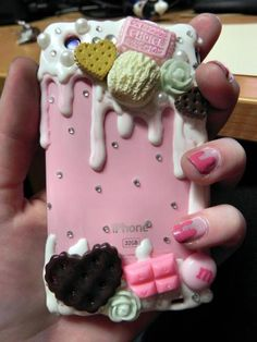 My current iPhone case~ Diy Phone Case, Cell Phone Cases, Iphone Cases, Phone Covers, Kawaii Room, Decoden, Do It Yourself Projects, Clay Creations, Clay Crafts