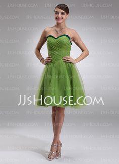 Bridesmaid Dresses - $105.99 - A-Line/Princess Sweetheart Knee-Length Satin Tulle Bridesmaid Dress With Ruffle (007022532) http://jjshouse.com/A-Line-Princess-Sweetheart-Knee-Length-Satin-Tulle-Bridesmaid-Dress-With-Ruffle-007022532-g22532