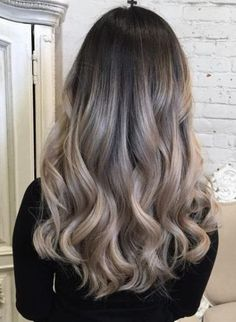 dark roots with ashy blonde strands ash blonde and silver ombre