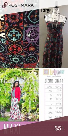 NWT Large LuLaRoe Maxi dress/skirt So pretty!!! These colors are perfect for the fall/winter season. Can be worn as a dress or as a skirt. Wear leggings underneath for extra warmth. Pair with a sweater, cardigan, tank, T ...your options are limitless. This Maxi is NWT by LuLaRoe. LuLaRoe Dresses Maxi