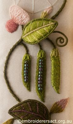 Pea Pods and Pink Flowers from Right Panel of Jane Nicholas Mirror 1 stitched by Lorna Loveland